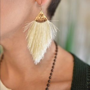 Ivory thread tassel earrings. NEVER WORN
